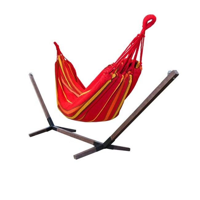 Hamac Single pentru Curte sau Gradina, 200x100cm, Rosu/Galben, cu Suport din Lemn, 360x85 cm, capaci