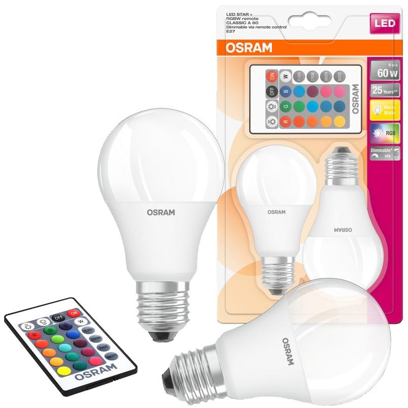 Set 2 becuri LED RGBW cu 2 telecomenzi Osram Star, dimabil, E27, 9W (60W), 806 lm, A+, lumina alba s