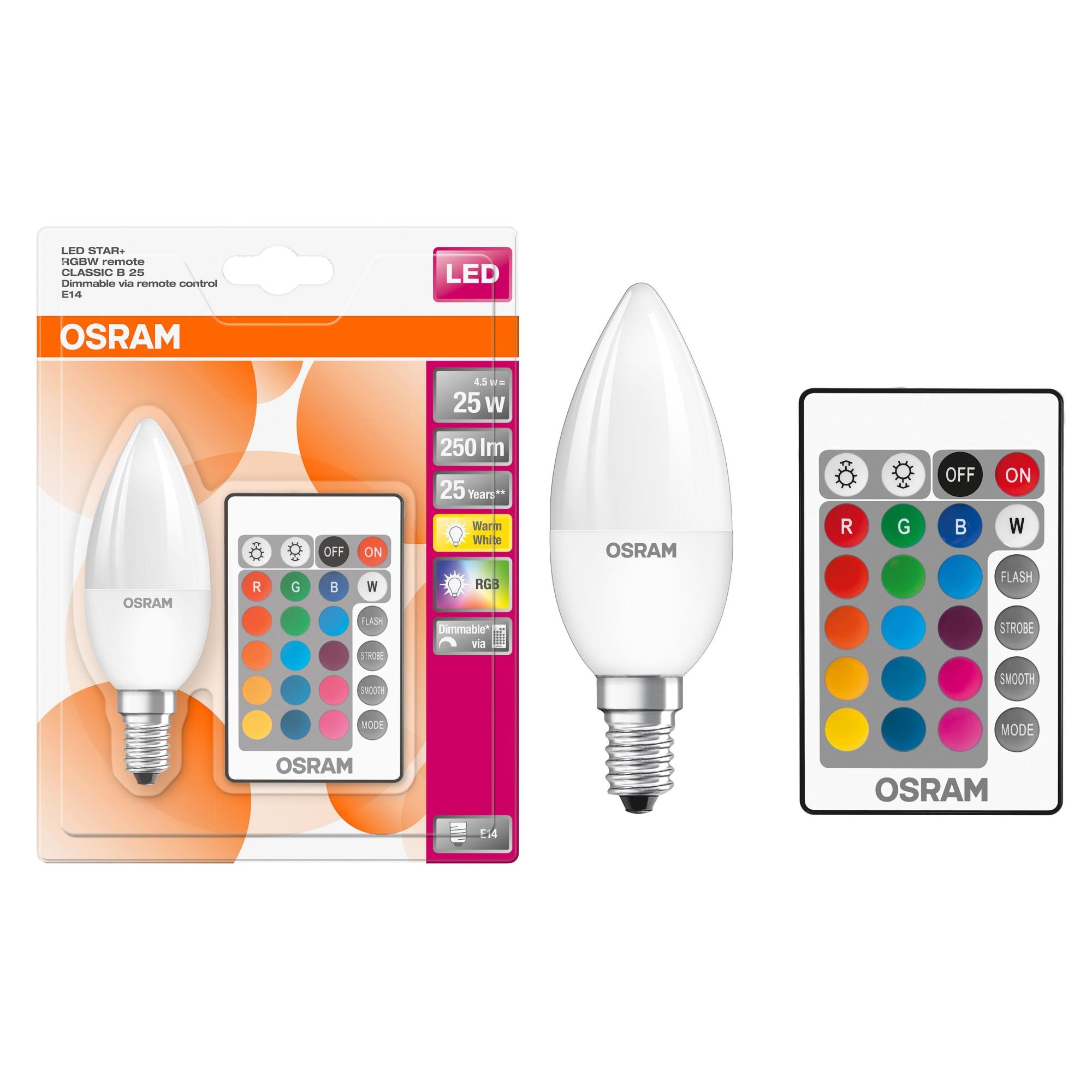 Bec LED RGBW cu telecomanda Osram Star, E14, 4.5W (45W), 250 lm, dimabil, A+, lumina alba si colorat