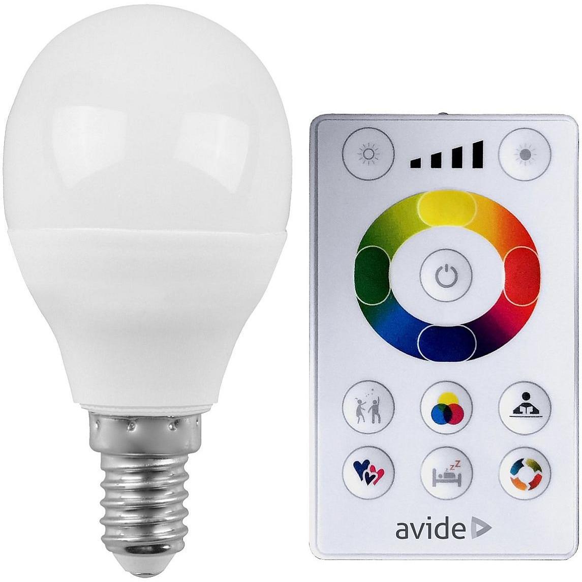 Bec Avide Smart LED bec Mini 5.5W RGB+W 2700K cu telecomanda IR