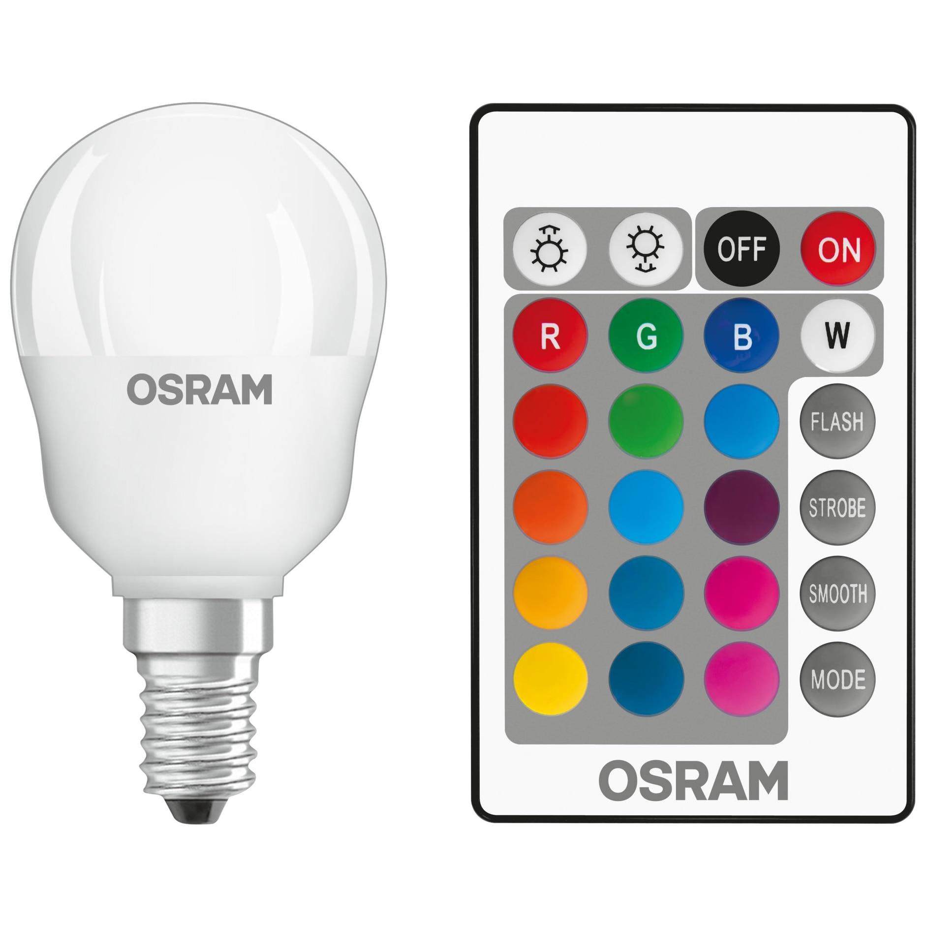 Bec LED RGBW cu telecomanda Osram Star P25, dimabil, E14, 4.5W (25W), 250 lm, A+, lumina alba si col