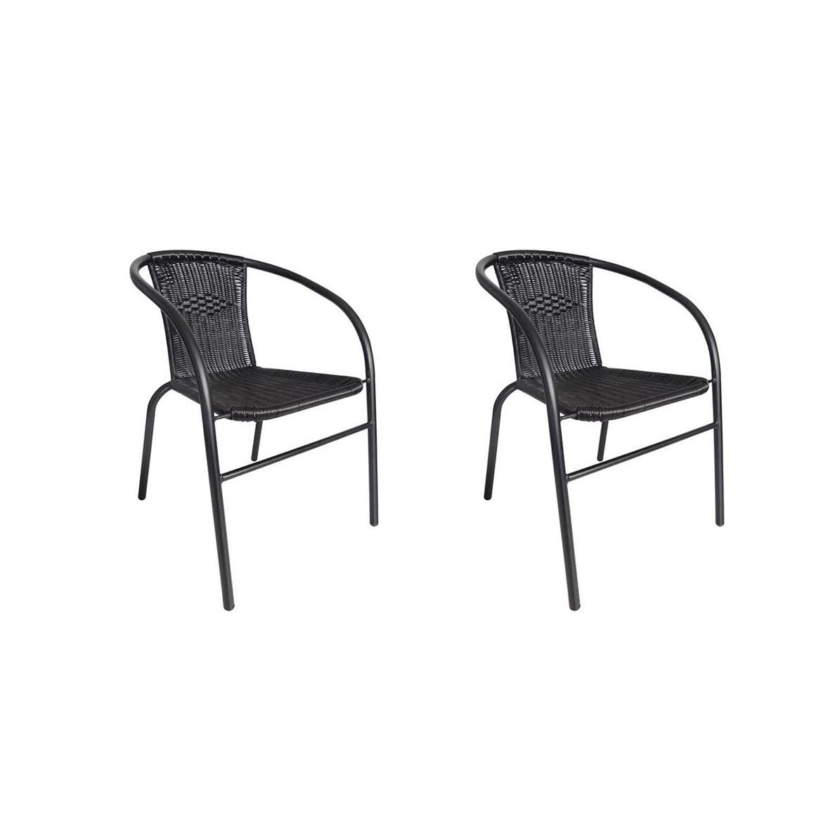 Set 2 scaune rattan si metal pentru curte, gradina, terasa sau balcon, stivuibil, culoare negru