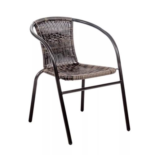 Scaun din Ratan cu Cadru Metalic, pentru Terasa sau Gradina, 53x59x73 cm, Bej/Gri