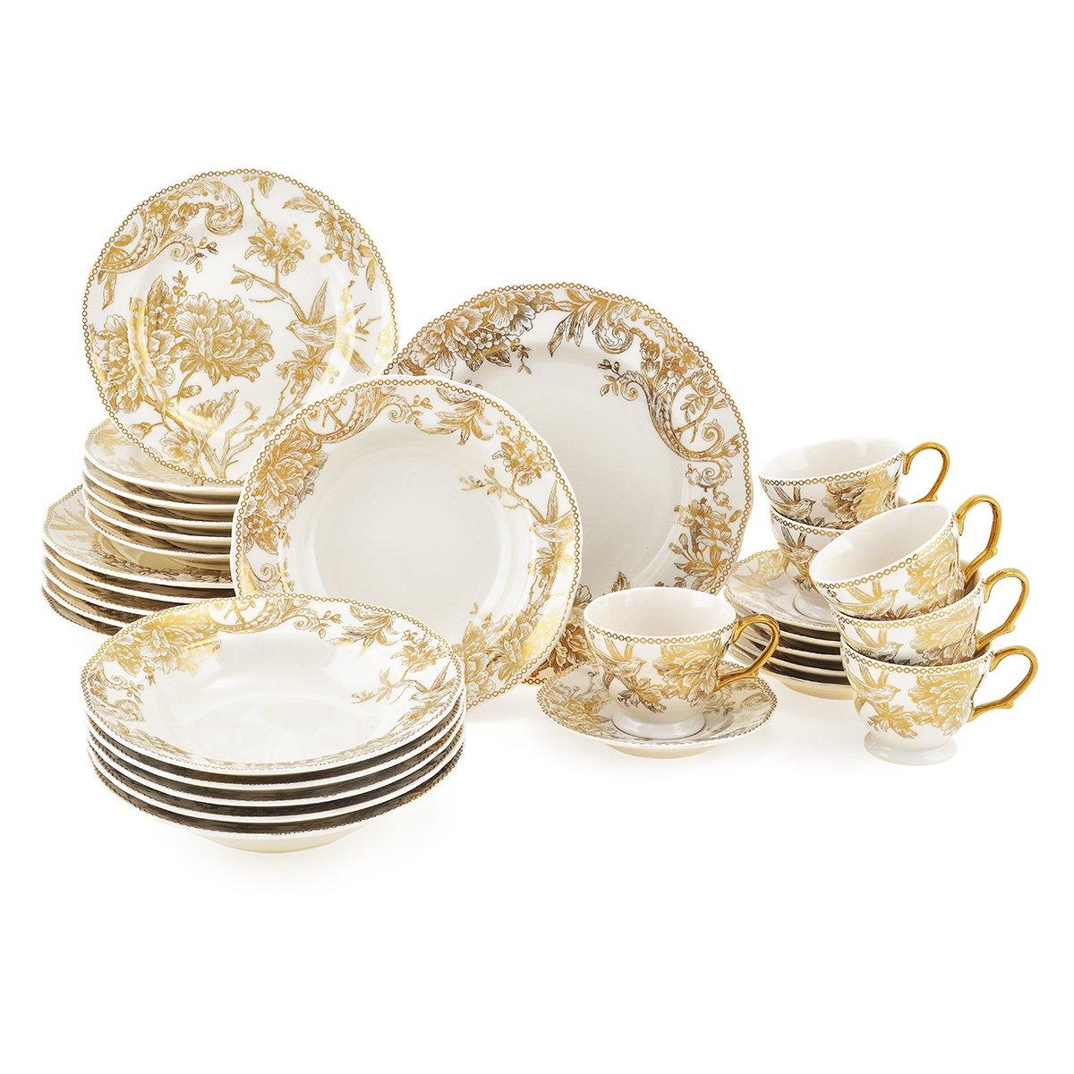 Set vesela AIX©, portelan, modelul auriu, plin de eleganta, imprimeu floral, 30 piese