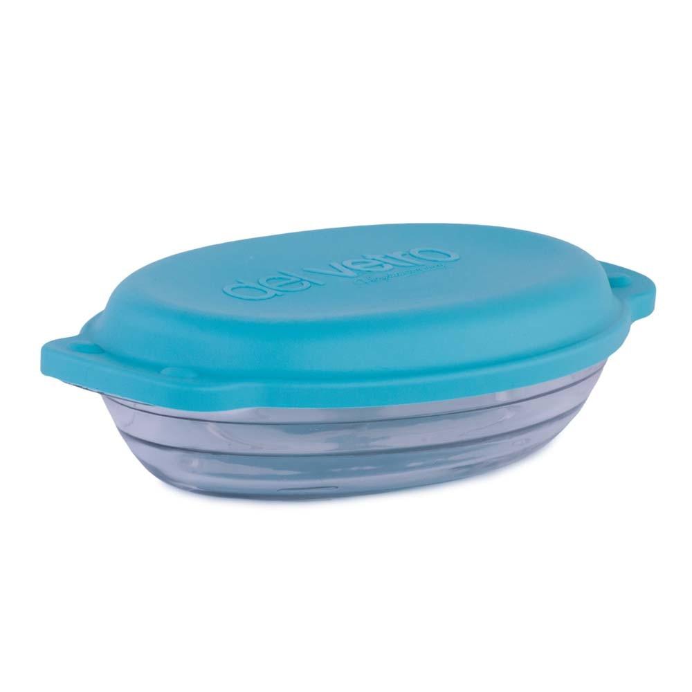Vas din sticla termorezistenta, Del Vetro, cu capac ermetic albastru si manere, 800 ml