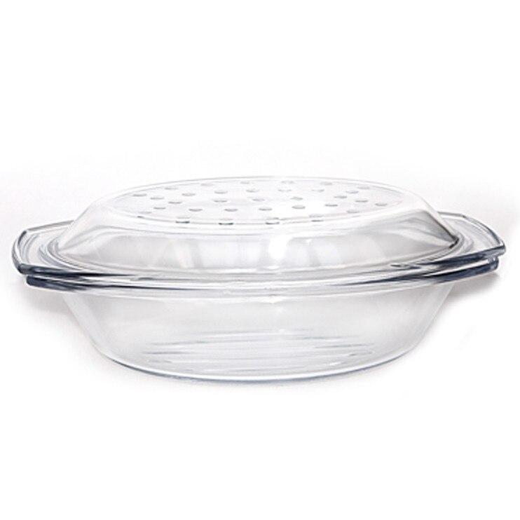 Vas yena de tip grill oval cu capac sticla termorezistenta WOL 2,9l 330x217x92mm