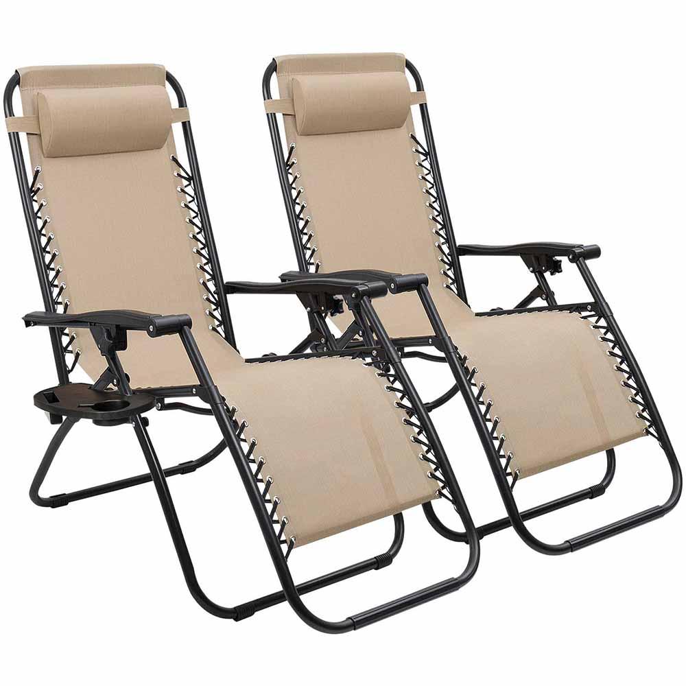 Set 2 buc scaun de gradina Timeless Tools, pliabil, cu suport pentru pahar, Bej