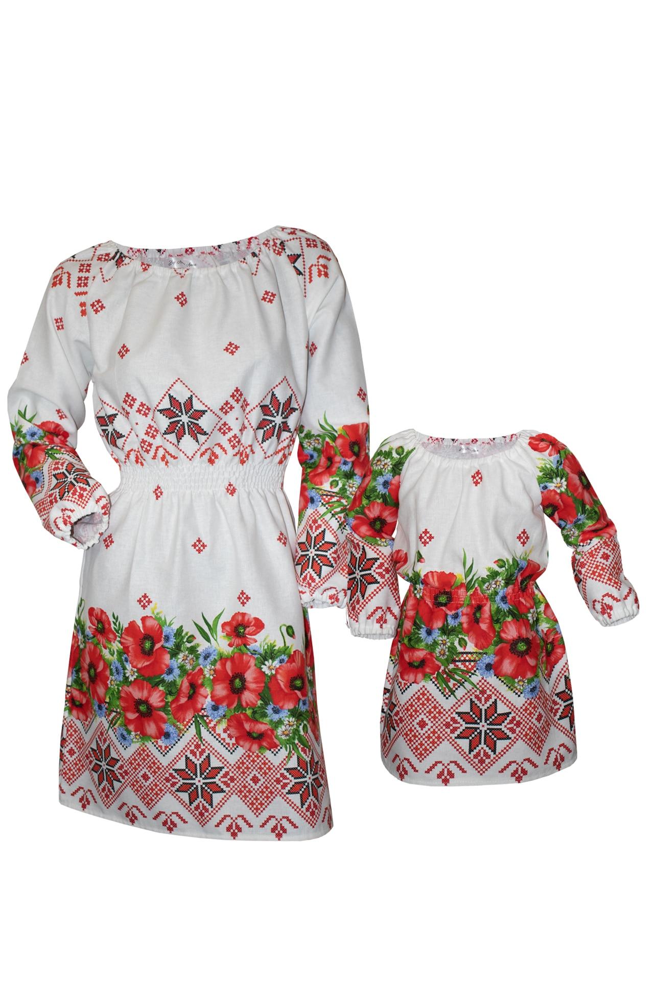 Set mama / fiica rochii pe fond alb cu imprimeu traditional floral, marimea M + 1/2 ani
