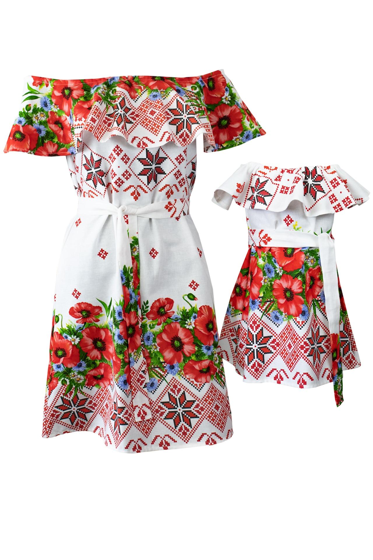 Set mama/ fiica rochii albe cu imprimeu traditional floral, marimea S + 1/2 ani