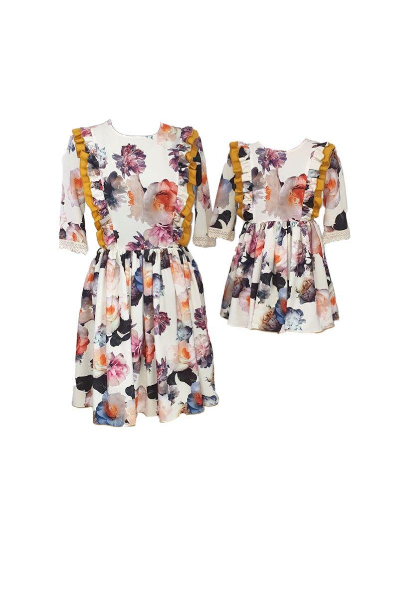 Set rochii pentru mama si fiica, Atelierul cu Minunatii, Triplu voal cu flori /Triplu voal , 6 ani,