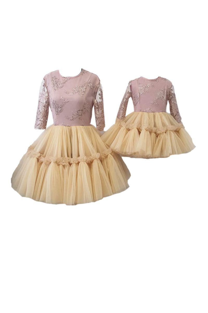 Set rochii pentru mama si fiica, Atelierul cu Minunatii,Dantela brodata/ Tulle RO161 3ani, Bej, Crem