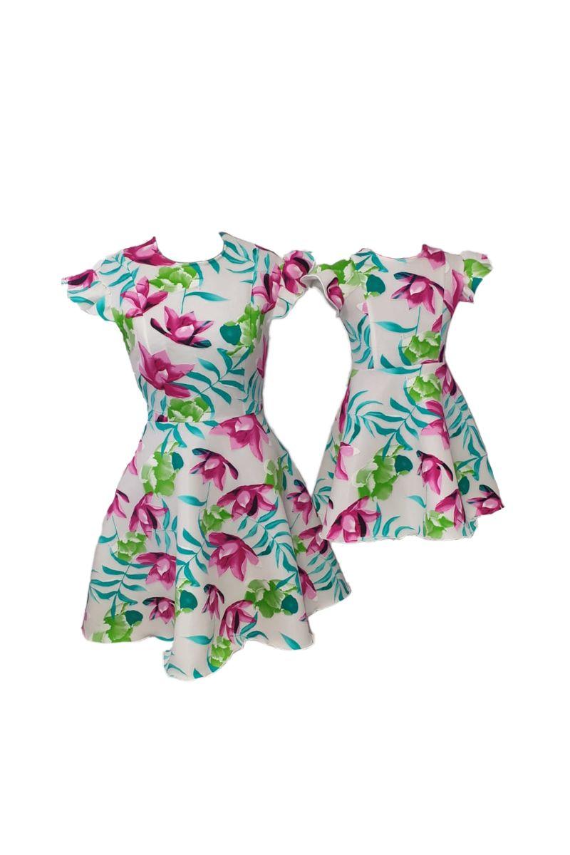 Set rochii pentru mama si fiica, Atelierul cu Minunatii, Roz/Inflorat , marime M / 10-11 ani