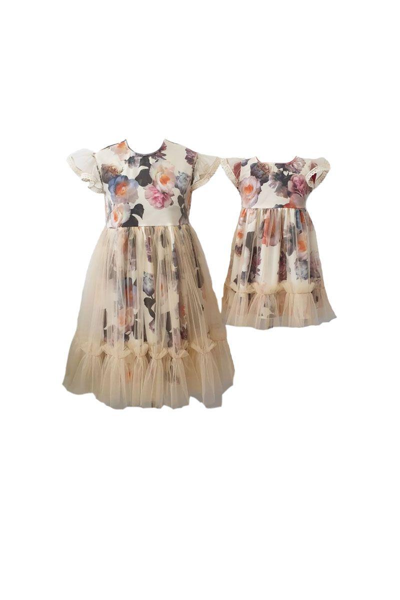 Set rochii pentru mama si fiica, Atelierul cu Minunatii,Triplu voal inflorat/ Tulle crem , marime M