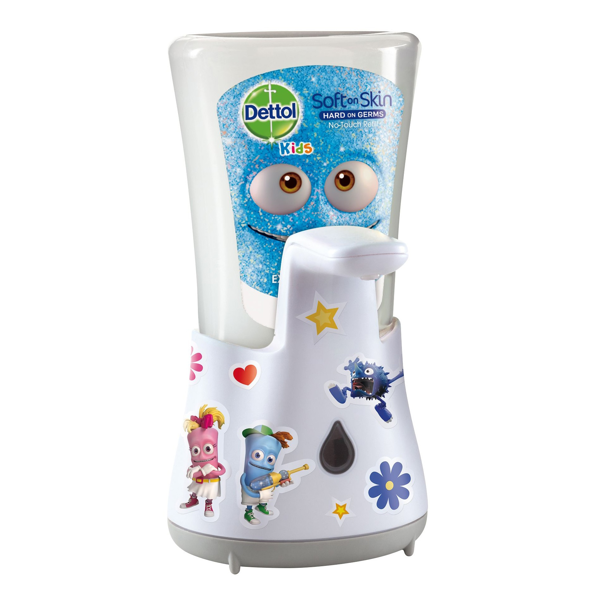 Dispenser automat cu senzor Dettol Kids No Touch pentru sapunul lichid + Rezerva sapun lichid Dettol